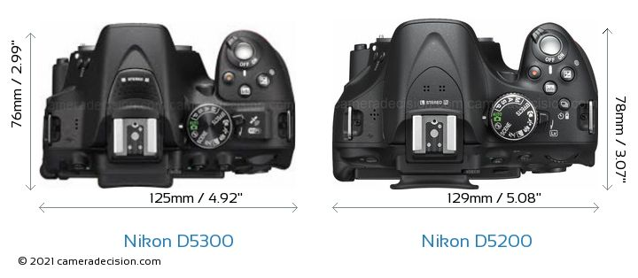 Nikon D5300 vs Nikon D5200 Camera Size Comparison - Top View