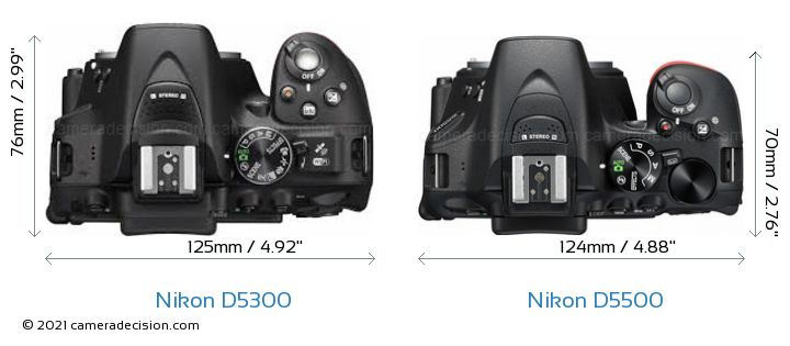 Nikon D5300 vs Nikon D5500 Camera Size Comparison - Top View