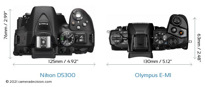Nikon D5300 vs Olympus E-M1 Camera Size Comparison - Top View