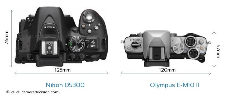 Nikon D5300 vs Olympus E-M10 II Camera Size Comparison - Top View