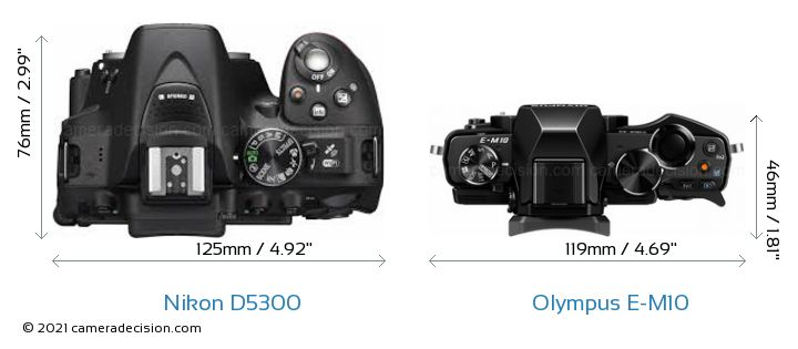 Nikon D5300 vs Olympus E-M10 Camera Size Comparison - Top View