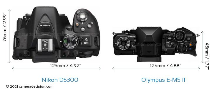 Nikon D5300 vs Olympus E-M5 II Camera Size Comparison - Top View