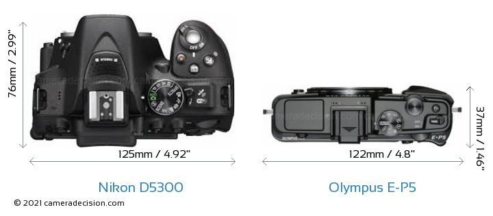 Nikon D5300 vs Olympus E-P5 Camera Size Comparison - Top View