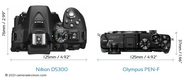 Nikon D5300 vs Olympus PEN-F Camera Size Comparison - Top View