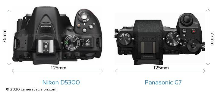 Nikon D5300 vs Panasonic G7 Camera Size Comparison - Top View
