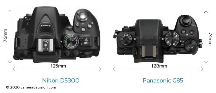 Nikon D5300 vs Panasonic G85 Camera Size Comparison - Top View