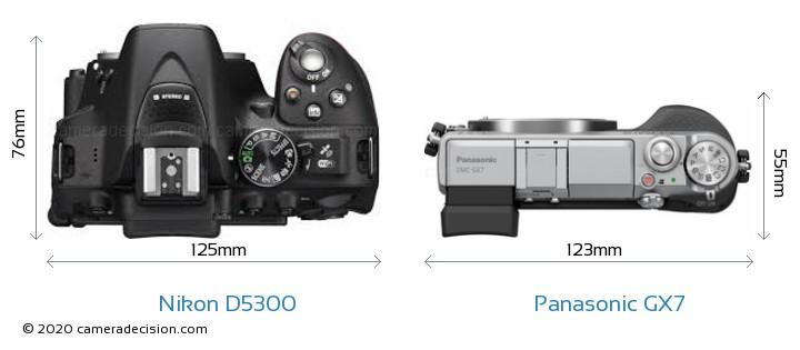 Nikon D5300 vs Panasonic GX7 Camera Size Comparison - Top View