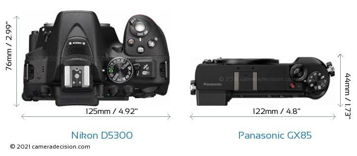 Nikon D5300 vs Panasonic GX85 Camera Size Comparison - Top View