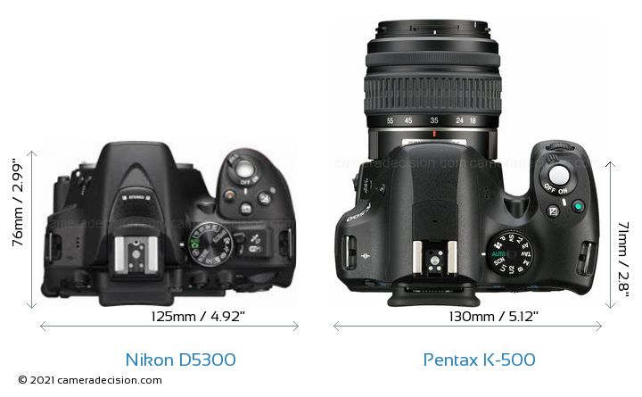Nikon D5300 vs Pentax K-500 Camera Size Comparison - Top View