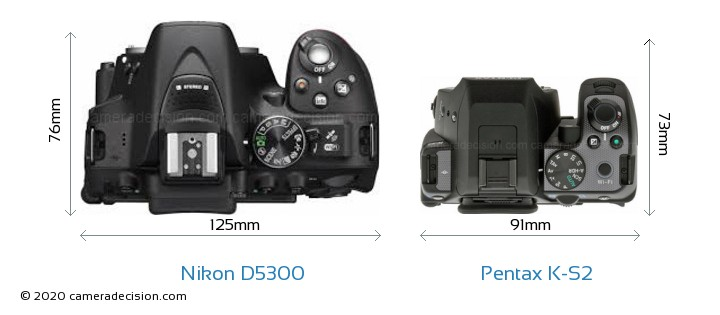 Nikon D5300 vs Pentax K-S2 Camera Size Comparison - Top View