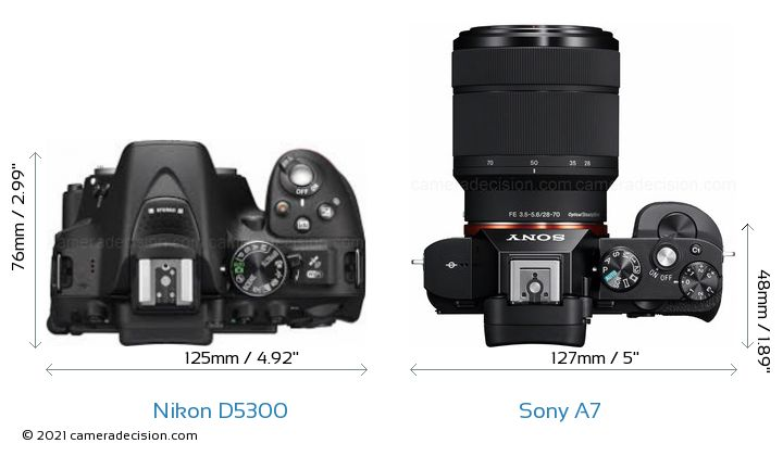 Nikon D5300 vs Sony A7 Camera Size Comparison - Top View