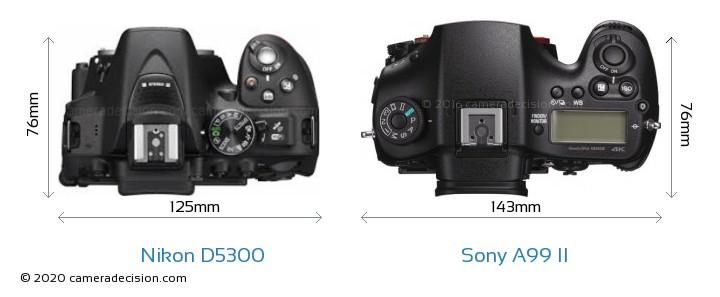 Nikon D5300 vs Sony A99 II Camera Size Comparison - Top View
