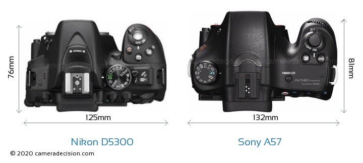 Nikon D5300 vs Sony A57 Camera Size Comparison - Top View