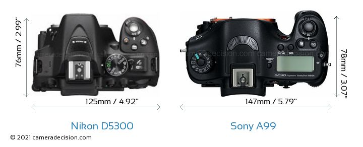 Nikon D5300 vs Sony A99 Camera Size Comparison - Top View