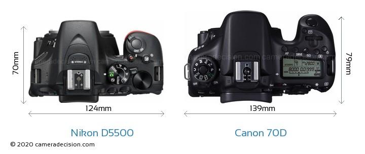 Nikon D5500 vs Canon 70D Camera Size Comparison - Top View