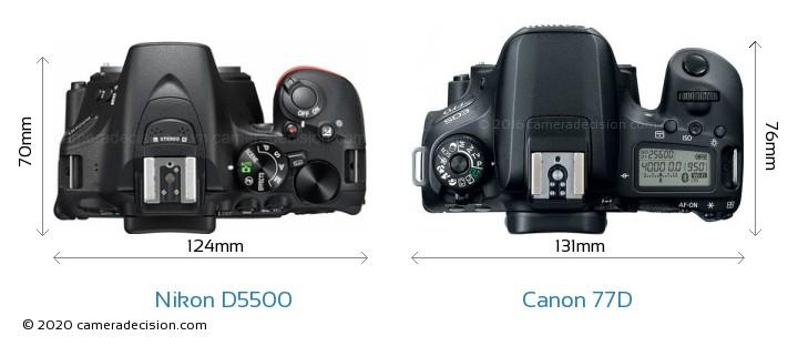 Nikon D5500 vs Canon 77D Camera Size Comparison - Top View