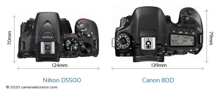 Nikon D5500 vs Canon 80D Camera Size Comparison - Top View