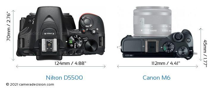 Nikon D5500 vs Canon M6 Camera Size Comparison - Top View