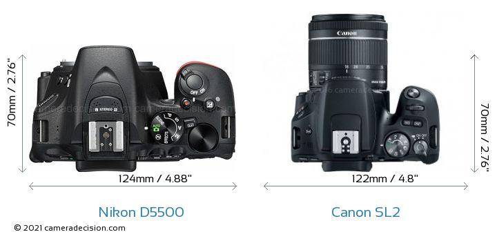 Nikon D5500 vs Canon SL2 Camera Size Comparison - Top View