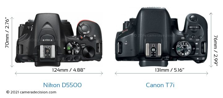 Nikon D5500 vs Canon T7i Camera Size Comparison - Top View
