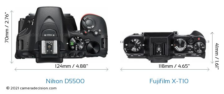 Nikon D5500 vs Fujifilm X-T10 Camera Size Comparison - Top View
