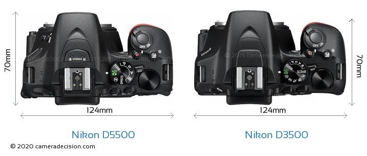 Nikon D5500 vs Nikon D3500 Camera Size Comparison - Top View