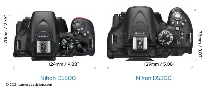 Nikon D5500 vs Nikon D5200 Camera Size Comparison - Top View