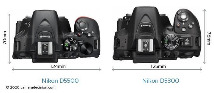 Nikon D5500 vs Nikon D5300 Camera Size Comparison - Top View