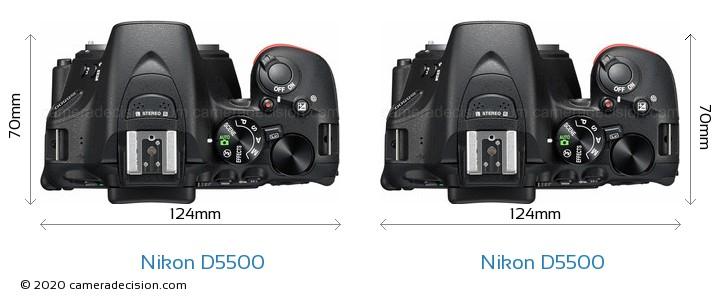 Nikon D5500 vs Nikon D5500 Camera Size Comparison - Top View