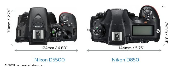 Nikon D5500 vs Nikon D850 Camera Size Comparison - Top View