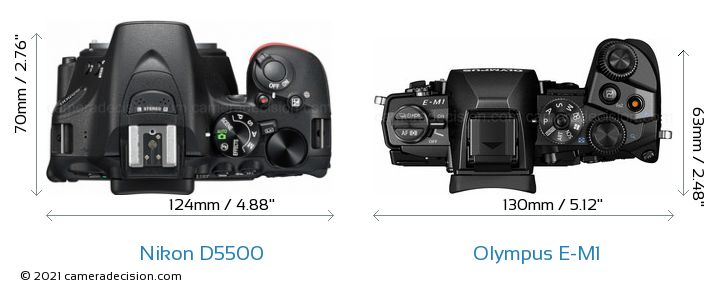 Nikon D5500 vs Olympus E-M1 Camera Size Comparison - Top View