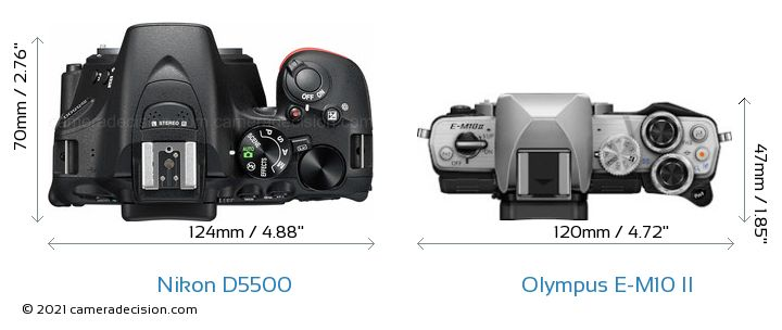 Nikon D5500 vs Olympus E-M10 II Camera Size Comparison - Top View
