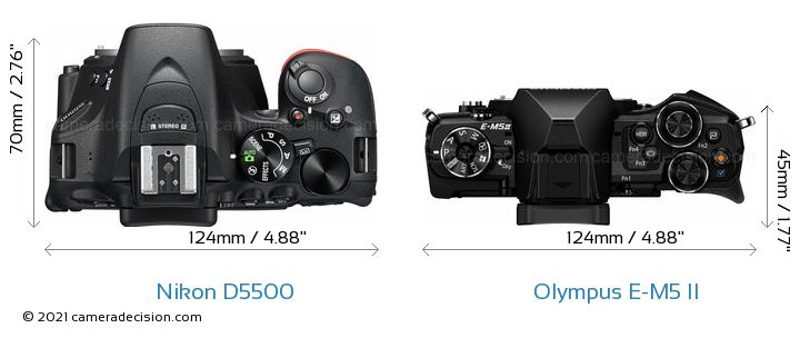 Nikon D5500 vs Olympus E-M5 II Camera Size Comparison - Top View