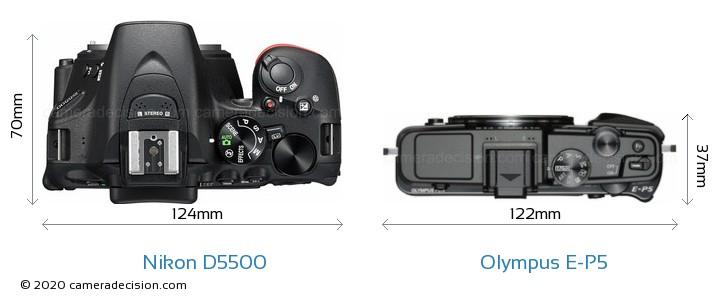 Nikon D5500 vs Olympus E-P5 Camera Size Comparison - Top View