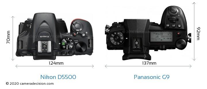 Nikon D5500 vs Panasonic G9 Camera Size Comparison - Top View