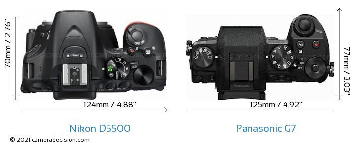 Nikon D5500 vs Panasonic G7 Camera Size Comparison - Top View