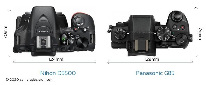 Nikon D5500 vs Panasonic G85 Camera Size Comparison - Top View