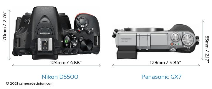 Nikon D5500 vs Panasonic GX7 Camera Size Comparison - Top View