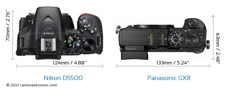 Nikon D5500 vs Panasonic GX8 Camera Size Comparison - Top View