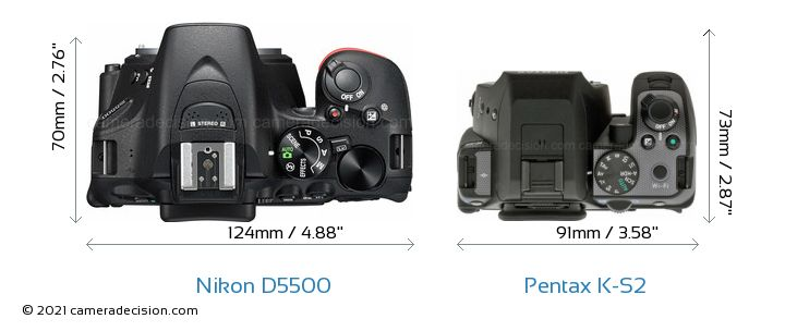 Nikon D5500 vs Pentax K-S2 Camera Size Comparison - Top View