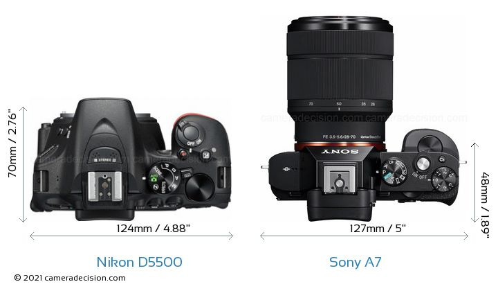 Nikon D5500 vs Sony A7 Camera Size Comparison - Top View
