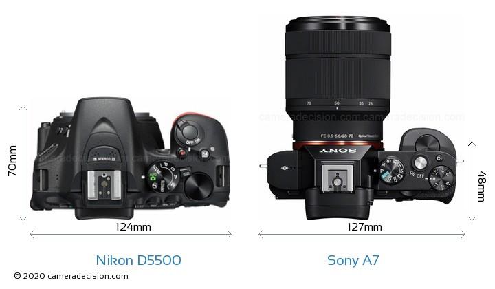 Nikon D5500 vs Sony A7 Camera Size Comparison - Top View
