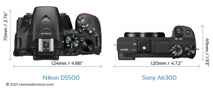 Nikon D5500 vs Sony A6300 Camera Size Comparison - Top View