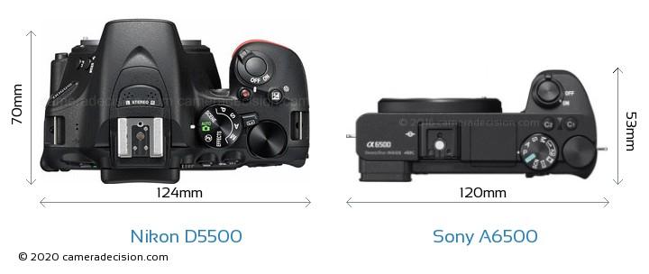Nikon D5500 vs Sony A6500 Camera Size Comparison - Top View