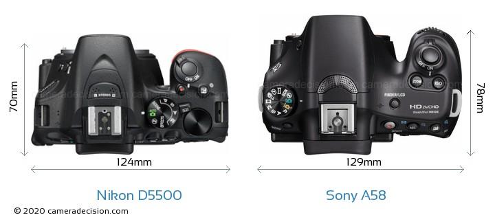 Nikon D5500 vs Sony A58 Camera Size Comparison - Top View