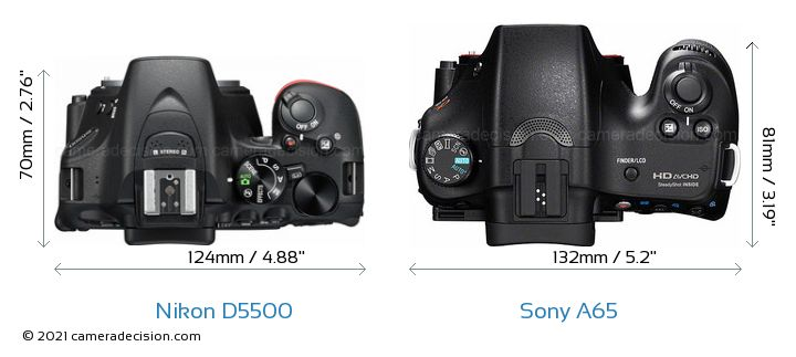Nikon D5500 vs Sony A65 Camera Size Comparison - Top View