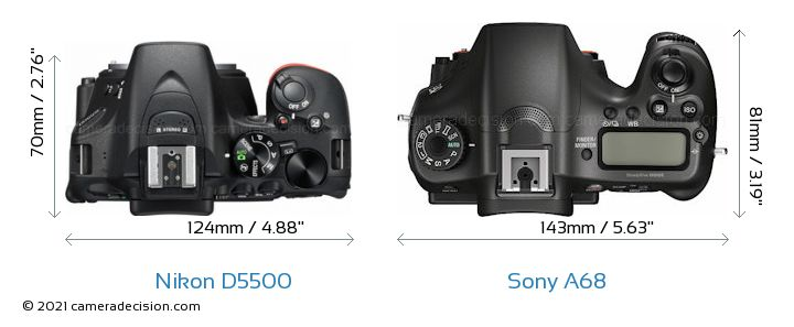 Nikon D5500 vs Sony A68 Camera Size Comparison - Top View