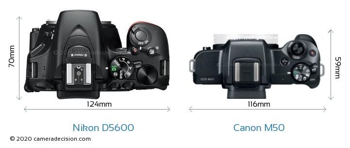 Nikon D5600 vs Canon M50 Camera Size Comparison - Top View