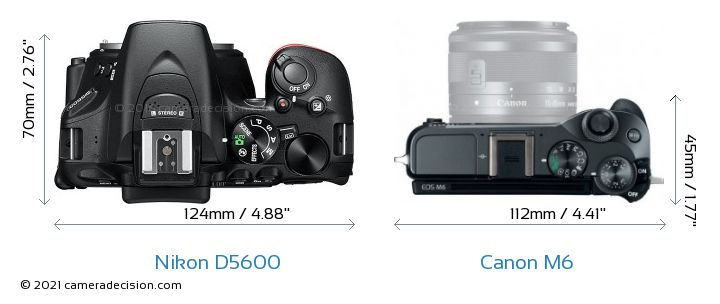 Nikon D5600 vs Canon M6 Camera Size Comparison - Top View