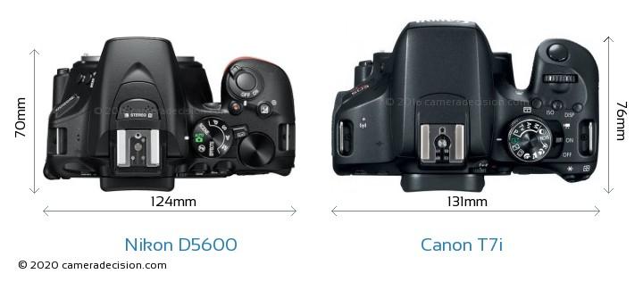 Nikon D5600 vs Canon T7i Camera Size Comparison - Top View